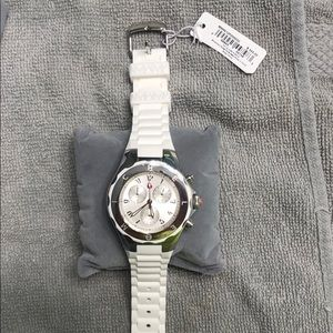 Authentic New Michele White/Silver jelly watch